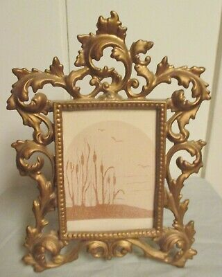 Vintage Gilt Gold Cast Iron Victorian Rococo Ornate Picture Frame