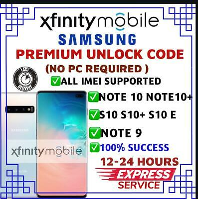 Xfinity Mobile Samsung Factory Unlock Code Galaxy S10 S10+ Note 9 Note 10 10+