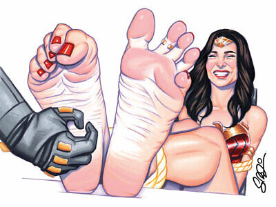 WONDER WOMAN Barefoot Tickle 12x9 Pop Art Print Scott Blair