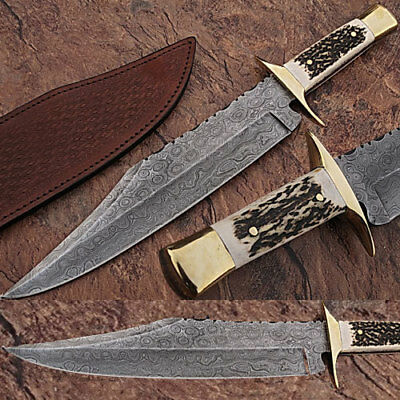 "HUGE 16"" Full Tang Damascus Steel Bowie Hunting Knife Stag Horn Handle '"