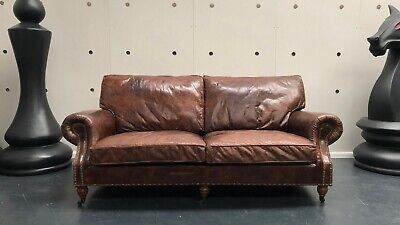 Halo Balmoral Timothy Oulton Antiqued Cigar Leather Three Seater Sofa Rrp £3500
