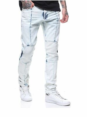 5407df3b SMOKE RISE MENS Slim fit Jeans Light Blue denim with Patches Rip ...