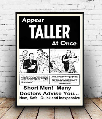 Wall art Reproduction. Appear Taller : Vintage Newspaper advertising poster