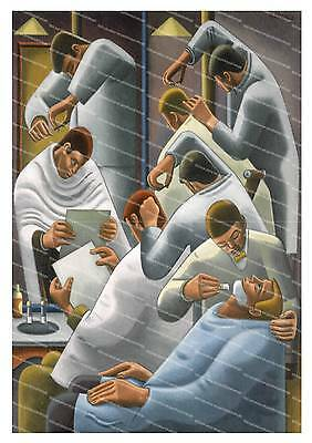The Barber Shop , Old magazine illustration poster reproduction.
