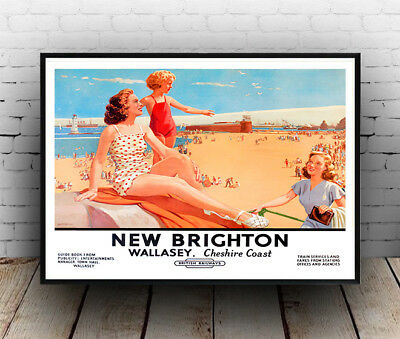 BRIGHTON VINTAGE TRAVEL POSTER PRINT GIFT CAFE WALL ART A4 SATIN PAPER