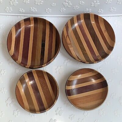 Shallow Handcrafted Wooden Bowls Made From Eucalyptus Cypress MCM Decor