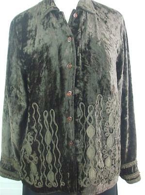 Coldwater Creek Women's Sz- M Brown Crushed Velvet Jacket Top Embroidery Ribbon