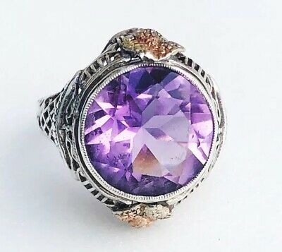 ANTIQUE AMETHYST STERLING SILVER FILIGREE RING WITH GOLD ACCENTS SIZE 5 3g