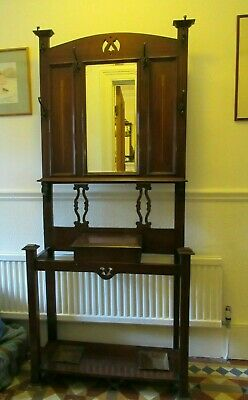 Antique Arts & Crafts Mahogany Hall Stand [5318]
