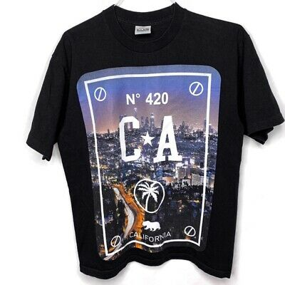 LA Los Angeles L Large Skyline 420 Black T-Shirt Tee California