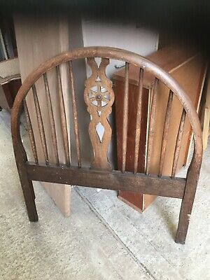 Vintage Old Antique Wheel Back Style Oak Head Board By Hypnos Beds  4/6/N