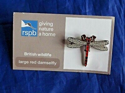 RSPB Giving Nature a Home New large red damselfly metal pin badge on FR card
