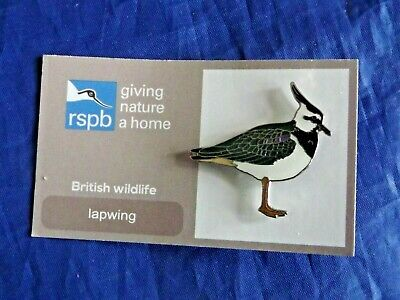 RSPB Giving Nature a Home lapwing metal pin badge on FR card