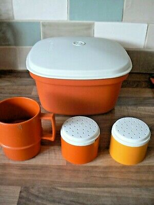 Vintage Tupperware 3 Piece Orange Multi Server Rice Vegetable Steamer Server