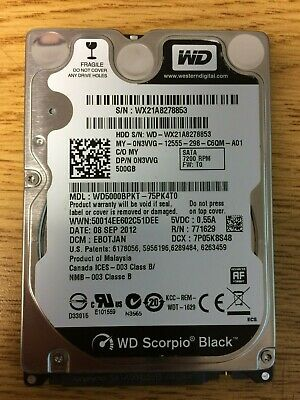 "WD Scorpio Black 2.5"" WD5000BPKT 500GB 7200RPM SATA Laptop Hard Drive TESTED"