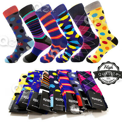 a6aa372d7255 3-12 Pairs Mens Fun Funky and Colorful Patterned Dress Socks Wedding Groovy  Sock