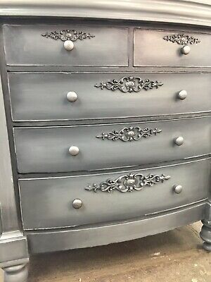 vintage antique shabby chick chest of draws , large solid wood heavy , grey