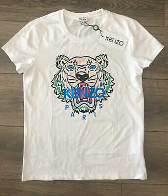 03279a8f4a KENZO WOMEN'S 3D Embroidered Tiger T-Shirt Top White Women Size M ...