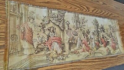 """Antique French Tapestry - Aubusson Style - 54"""" x 17"""" - Greco-Roman Day Scene"""