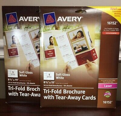 2 Packs Of 50 Avery Tri-Fold Brochure With Tear-Away Cards 16152 8 1/2'' x 11''