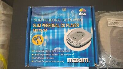 Boxed Maxim Portable CD Player MX13-34 24 Track Memory VGC Earphones