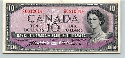 Canada 1954 -  VERY NICE.  $10 DEVIL'S FACE  BANKNOTE