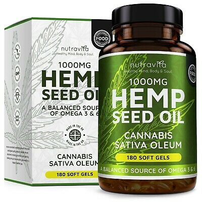Hemp Seed Oil 1000mg Supplement 180 Soft Gel Capsules | Pure Cold Pressed Oil...