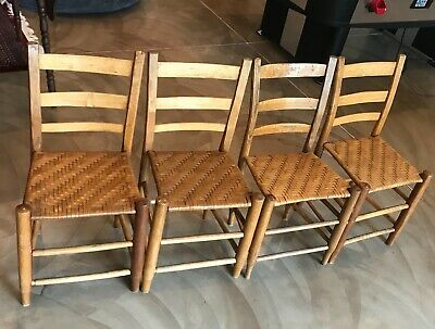 Antique ladder back chair set of  four with cane seats approximate 1920s