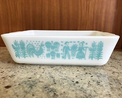 Vintage Pyrex Glass Amish Butterprint Blue Refrigerator Dish 503 No Lid Kitchen