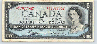 Canada 1954 -  NICE.  $5 *R/X RARE REPLACEMENT  BANKNOTE