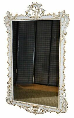 Antique Large Ornate French Style Wall Mirror w/Gold Highlights