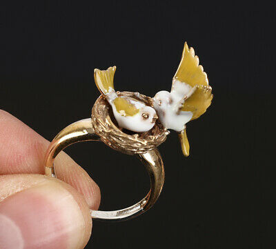 Birds In The Nest .925 Silver & Bronze Ring Size 7.5 #13312