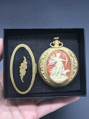 2 Vintage MAX FACTOR Compacts Powder Cameo Huntress Diana & Lipstick Holder