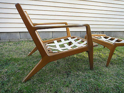 Vintage Mid Century Danish CHAIR w/ footrest ottoman MARKED DENMARK