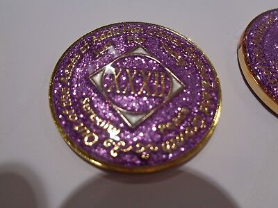 NA Purple Glitter Coin 26 Year Tri-Plate Narcotics Anonymous Medallion CaseStand