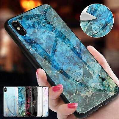 For iPhone 8 Plus Case XS Max XR 6 7 Hybrid TPU Tempered Glass Back Marble Cover