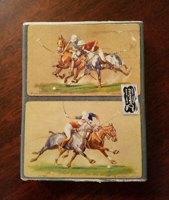 Vintage Double Deck Playing Cards Polo Scene Design By Sydney Lucas For Duratone