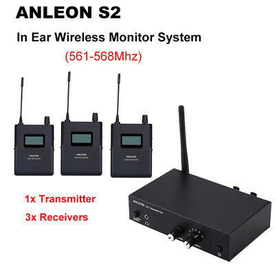 ANLEON S2 Stereo In Ear System 1xTransmitter+3xReceivers IEM Digital 561-568Mhz