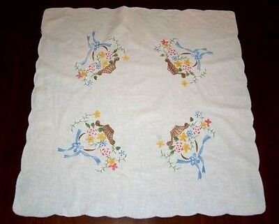 """EMBROIDERED & PAINTED """"FLOWER BASKET"""" CARD / BRIDGE TABLECLOTH SIZE 32"""" x 30"""""""