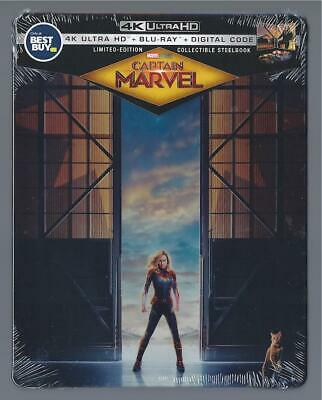 Captain Marvel 4K Ultra Hd Dvd + Blu-Ray + Digital Best Buy Steelbook *Sealed*