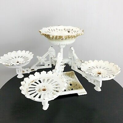VTG JAPANESE Plant Stand Cast Iron 2 Tiered Swivel Arms Ornate Patina Oil Lamp