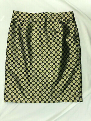 e8a2954d39 J Crew Womens Shiny Black Gold Polka Dot Silk Blend Pencil Skirt Size 6