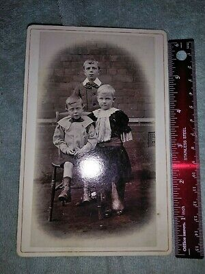 Antique  Post Mortem Death Photo Cabinet Photo  Card   Child with brothers