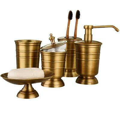 5pcs Brass Bathroom Accessory Set Antique Gold Color Soap Dish Dispenser