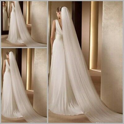 1 Layer 0.9m/2M/3M/5M Long Bridal White Veil For Wedding Cathedral With Comb