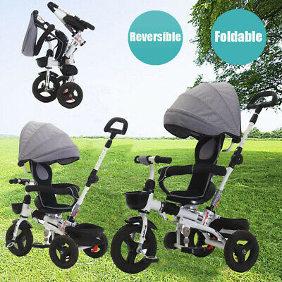 4 In 1 Baby Toddler Pram Stroller Kids Reverse Tricycle Trike Ride-On Toy