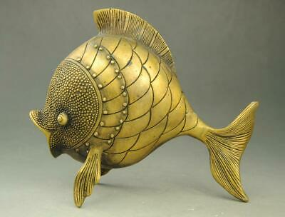 Chinese old  Copper Auspicious FengShui Fish Animal Statue e01