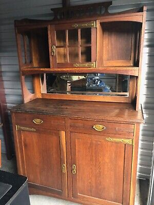Arts And Crafts Oak Leaded Glass Sideboard Buffet