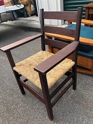 Signed Early Gustav Stickley Chair With New Natural Rush Seat