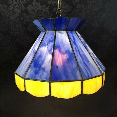 "Stained Slag Glass Vintage 15"" Blue Yellow Hanging Pendant Lamp Light Ceiling"